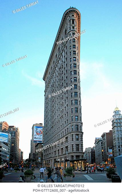 usa, etat de New York, New York City, Manhattan, Chelsea, flatiron, fer a repasser, building, nuit, Photo Gilles Targat