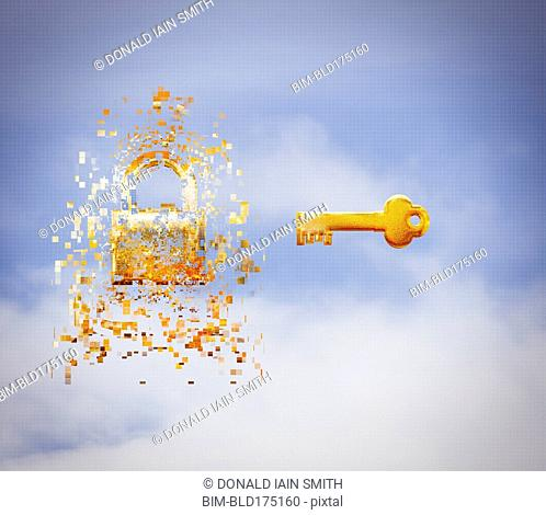 Key and pixelated padlock in sky