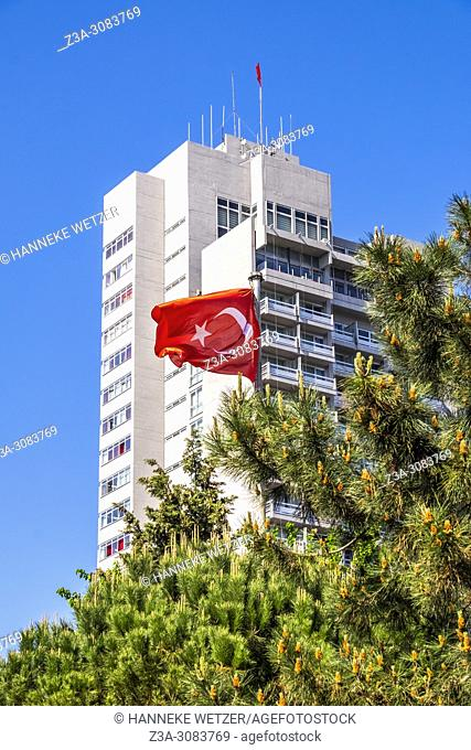 Hilton hotel with turkish flag in Istanbul, Turkey