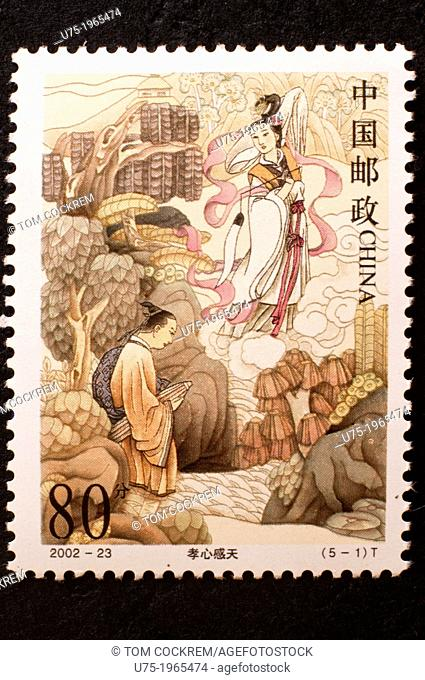 chinese postage stamp in studio setting