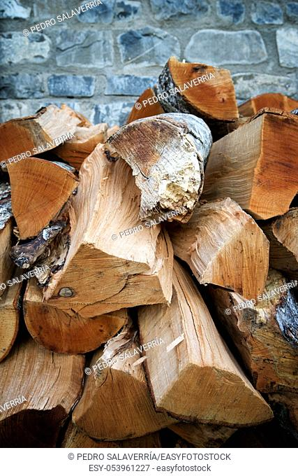 Background created with stacked firewood