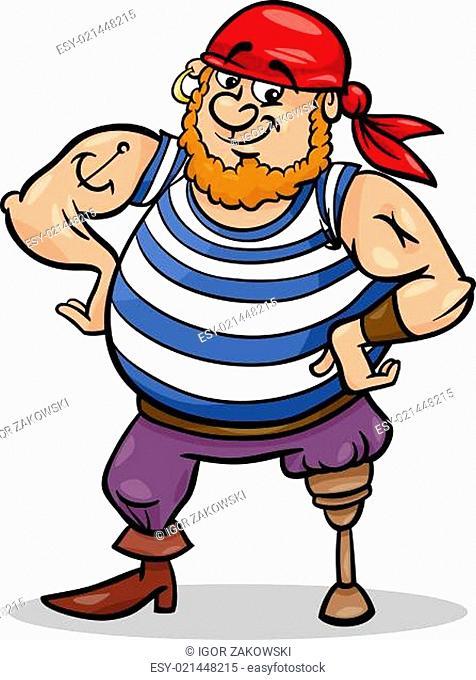 peg leg pirate cartoon illustration