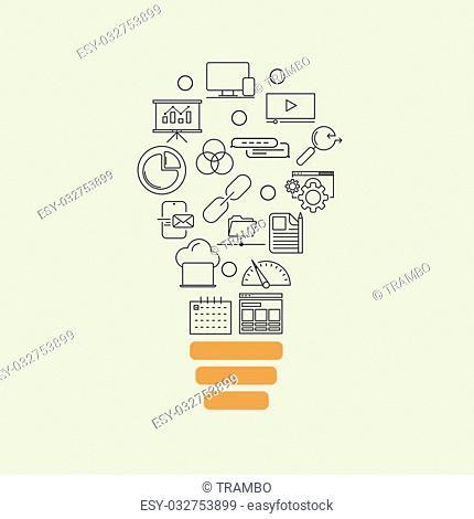 Vector modern thin line flat design of icons set. Business development, seo optimisation idea background