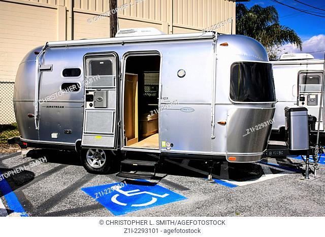 Airstream Caravan on display at a dealership in Sarasota Florida