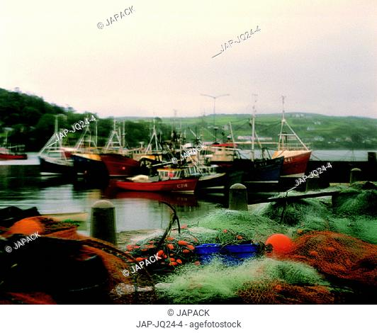 Fishing trawler and nets