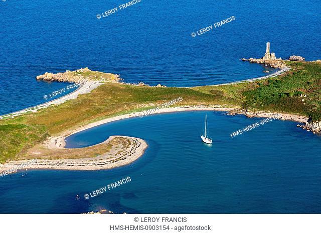 France, Cotes d'Armor, Plougrescant, sailboat in a bay of Ile d'Er (Enez Terc'h) (aerial view)