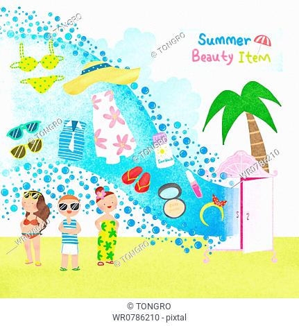 A illustration of summer beauty items