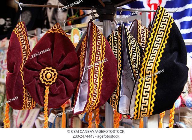 Traditional hats for sale, Heraklion, Crete, Greek Islands, Greece, Europe