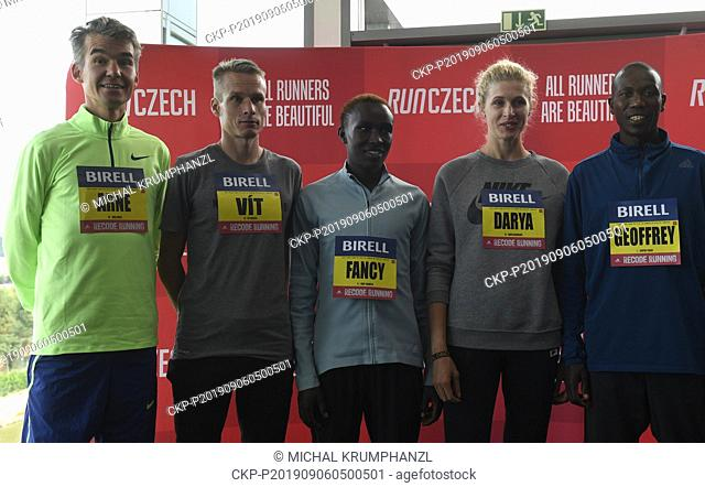Athletic runners (from left) Arne Gabius, Vit Pavlista, Fancy Chemutai, Darya Mikhaylova and Geoffrey Koech attend a news conference prior to the Birell Prague...