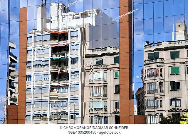 Aluminium glass facade of an office building, Palma, Majorca