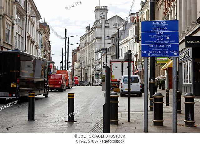 automatic traffic bollards in Cardiff high street city centre precinct Wales United Kingdom