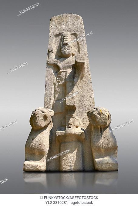 The Hittite Fasillar Monument, finished replica of 13th century BC original. Anatolian Civilizations Museum, Ankara, Turkey. Against a gray background