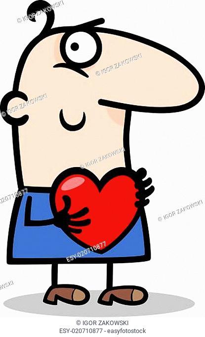 man with heart cartoon illustration