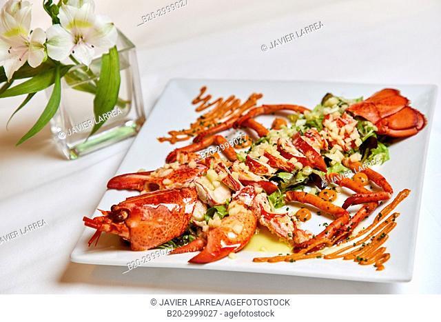 Lobster Salad, Restaurante Juanito Kojua, Parte Vieja, Old Town, Donostia, San Sebastian, Gipuzkoa, Basque Country, Spain