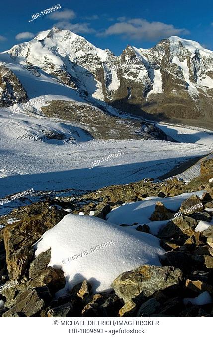 Bernina Range with Mount Piz Bernina, 4048 metres above sea level, and Mount Piz Morteratsch, 3751 metres above sea level, Buendner Alps, Canton of Graubuenden