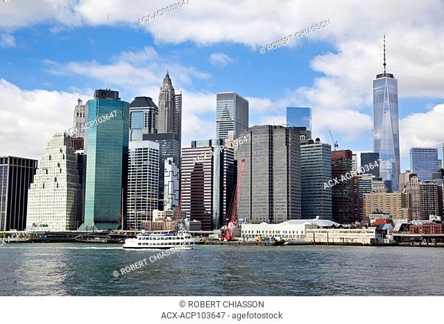 Lower Manhattan skyline as seen from the East River, New York City, New York, U.S.A