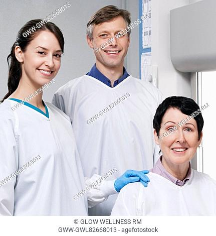 Portrait of three doctors in a laboratory
