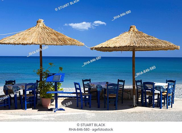 Beach cafe, Kato Zakros, Lasithi region, Crete, Greek Islands, Greece, Europe