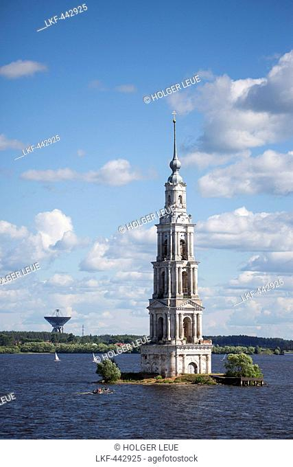 Flooded Church tower of Kaljazin on the Volga river with satellite dish in the distance, Kaljazin, Russia, Europe