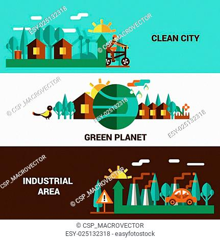 Flat Horizontal Ecology Banners Set