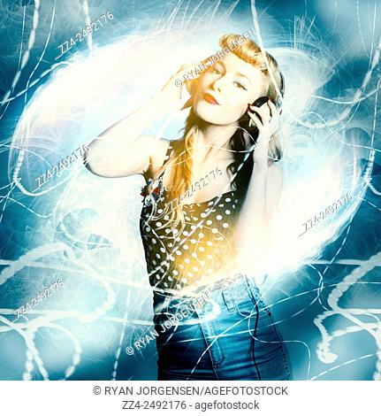 Digital design of a pinup dancing girl in stereo headset moving in a motion of abstract light blurs. Dance music festival pinup