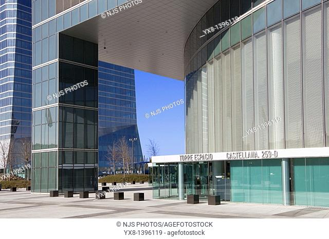Entrance of Espacio Tower building, located in Cuatro Torres Business Area of Madrid, Comunidad de Madrid, Spain, Europe