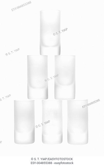Stack of Tumblers on White Background