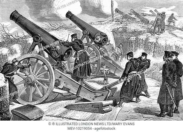 Illustration showing a Prussian siege battery bombarding Paris, with the Prussian ranks of cannon into the distance. Fighting went on in Paris for four months...