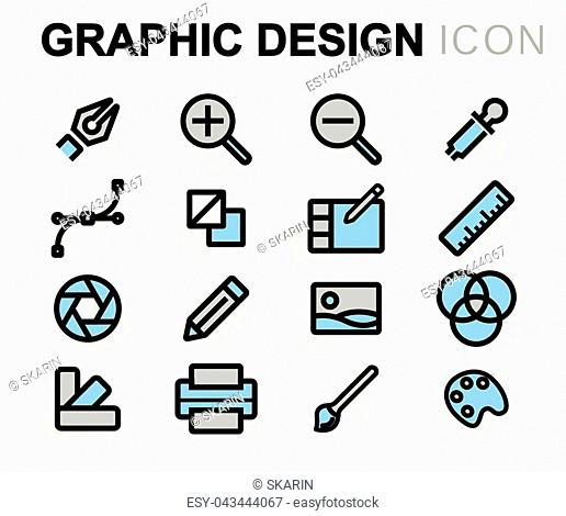 Vector flat line graphic design icons set on white background