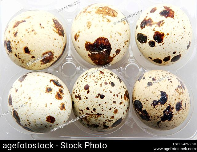 Image Of Fresh Quail Eggs In A Package