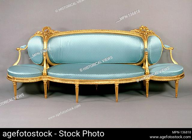 Sofa (canapé à confidents). Maker: Claude I Sené (French, 1724-1792); Date: ca. 1775-80; Culture: French; Medium: Carved and gilded beechwood upholstered in...