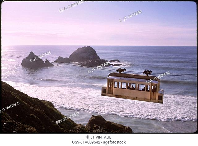 Sky Tram, Ocean Beach, San Francisco, California, USA, 1964