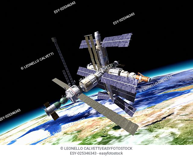 Space station in orbit around Earth. WIth large portion of the Earth at the bottom