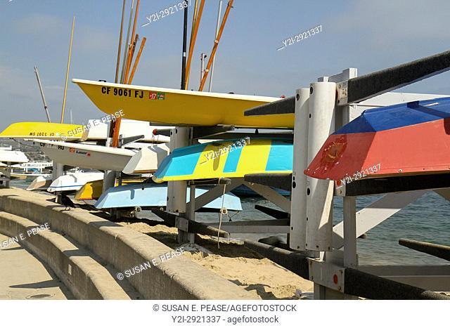 Boats by the water on Balboa Island, Newport Beach, Orange County, California, United States