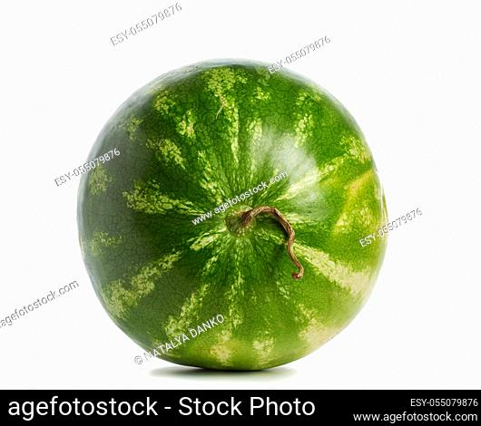 green striped whole round watermelon isolated on white background, summer berry