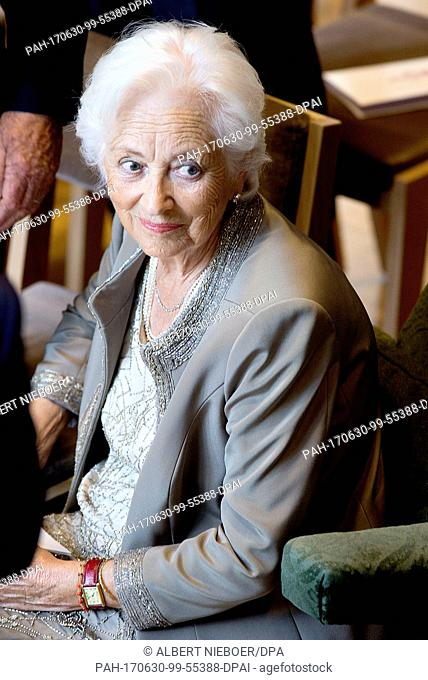 Queen Paola at the Music Chapel Queen Elisabeth in Waterloo, on June 29, 2017, attending the celebration on the occasion of the 80th anniversary of HM Queen...