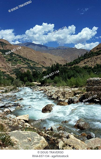River and mountains in the Kalash region near Bumburet village in Chitral, Pakistan, Asia