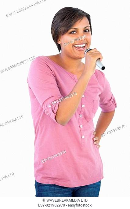 Woman singing with her microphone