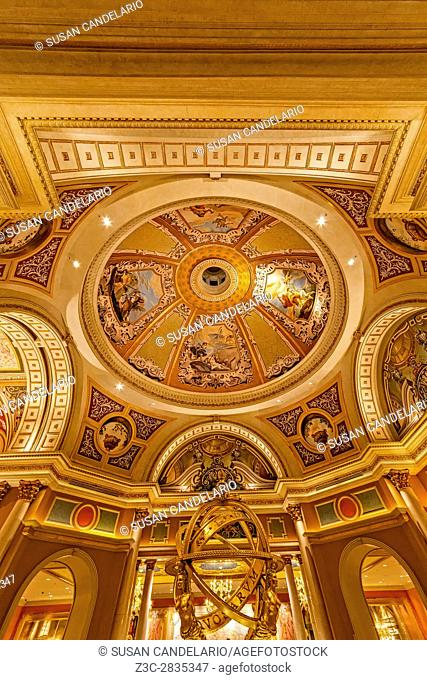 The Venetian Las Vegas - Ceiling art , Armillary Sphere and architectural details at the Venetian Hotel and Casino in Las Vegas, Nevada