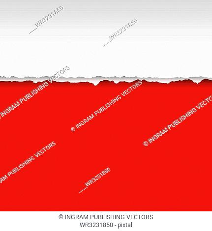 Paper page with tear and shadow with red background