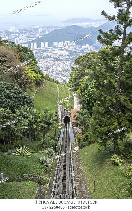 Malaysia, View of railway track with penang hill in background
