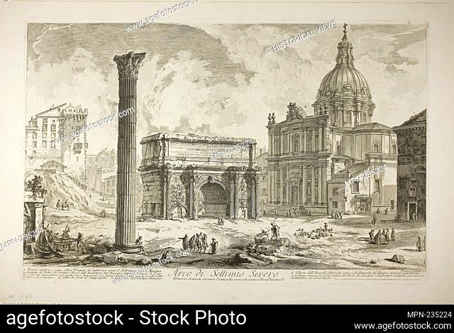 Arch of Septimius Severus through which passed the ancient Sacred Way, bringing victors to the Capitol, from Views of Rome - 1750/59 - Giovanni Battista...