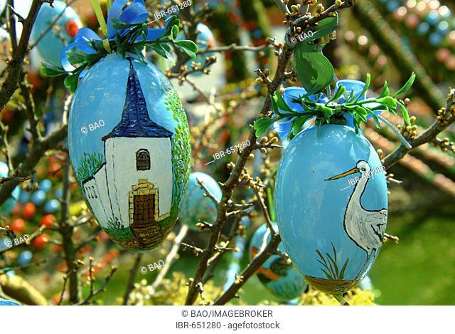 Easter decorations on a fountain, Bieberach, Franconian Switzerland region, Bavaria, Germany, Europe