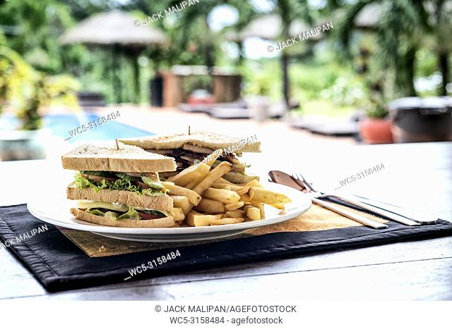club sandwich snack with french fries on plate