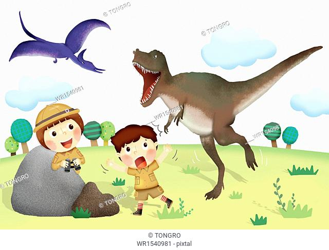 two kids running away from dinosaurs
