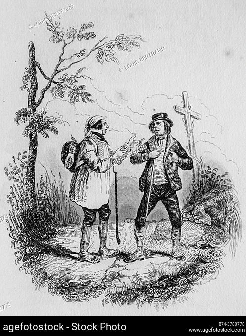 the two travelers, florian fables illustrated by victor adam, publisher delloye, desme 1838