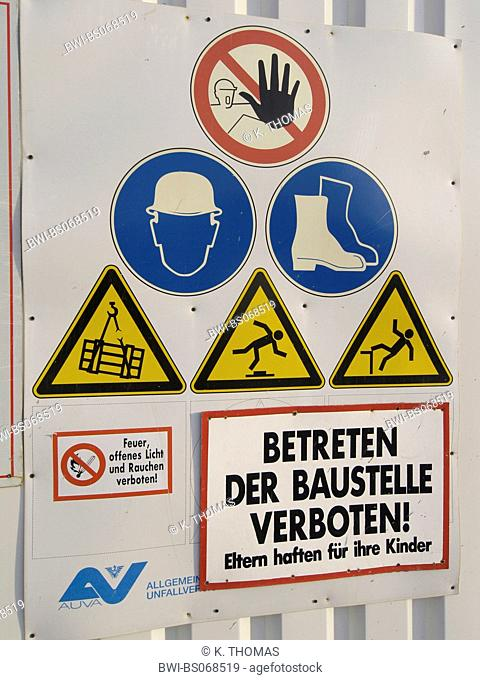 danger signs at at construction site safety regulations
