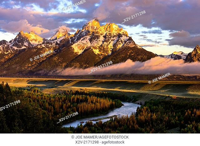 Teton Range from the Snake River Overlook in Grand Teton National Park at sunrise
