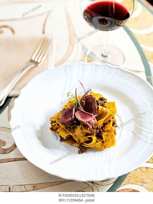 Papardelle with chicken ragout and rare hare chops (Restaurant Da Caino, Head Chef Valeria Piccini)