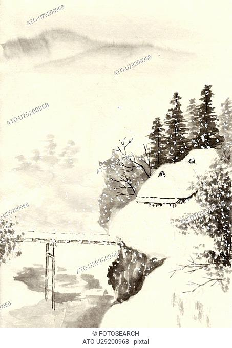 Mountain Scenery of Japan in Winter, Ink Painting, Vignette